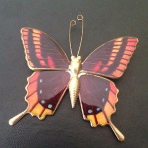 Monarch Butterfly Pin Brooch Vintage 1970s EUC